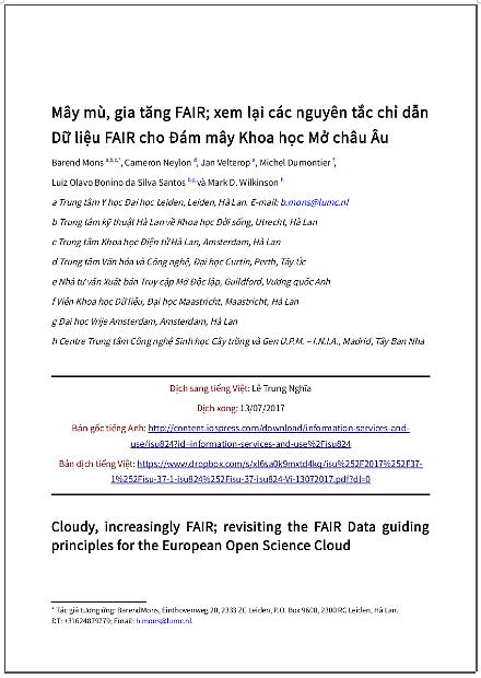 'Mây mù, gia tăng FAIR; xem lại các nguyên tắc chỉ dẫn Dữ liệu FAIR cho Đám mây Khoa học Mở châu Âu' - Bản dịch sang tiếng Việt