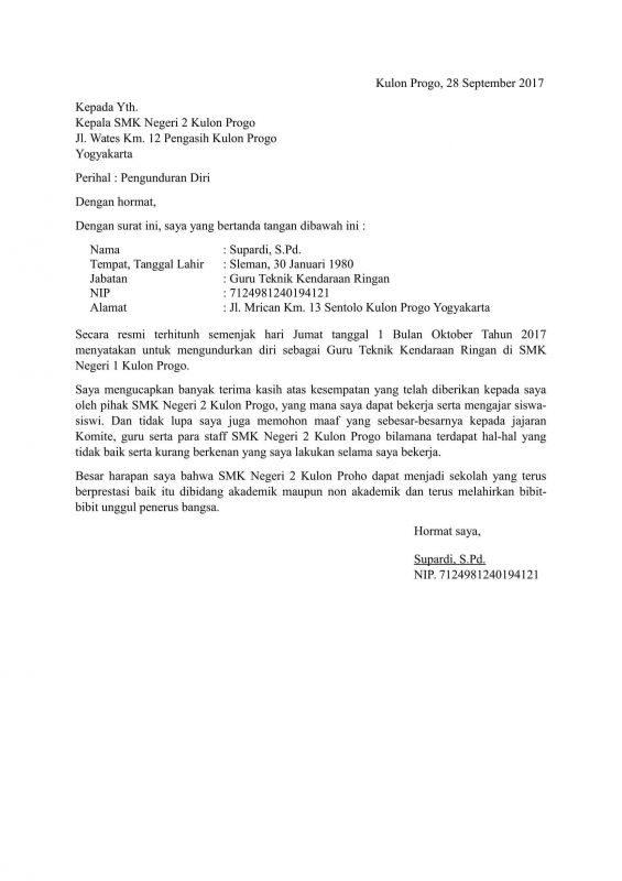 3 Contoh Surat Pengunduran Diri Kerja Surat Resign Yang Baik