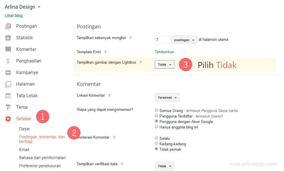 Cara menambahkan light gallery di tema blog arlina design for Blog di design