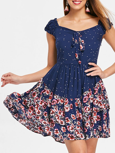 Short Sleeve Layered Flower Dress