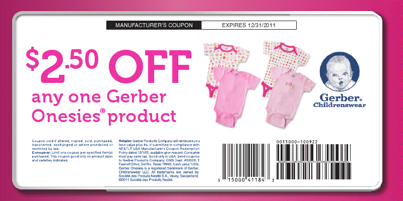 Coupon Cottage 2 50 Off Gerber Baby Onesie Coupon