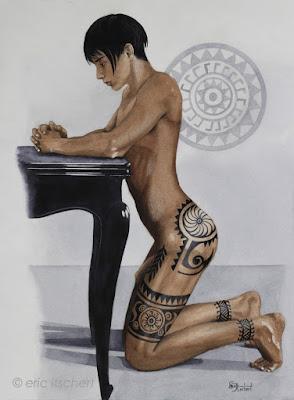 garçon tatoué, aquarelle, garçon tout nu, tatouage polynésien, garçon androgyne, Maohi, peau, tattoo, maquillage