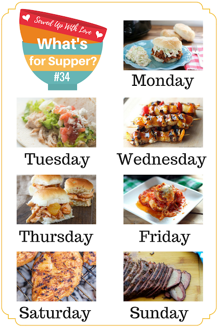 Smoked Brisket, Hawaiian Chicken Skewers, Crock Pot Pork BBQ, and so much more are included in the meal plan at What's for Supper Sunday at Served Up With Love.