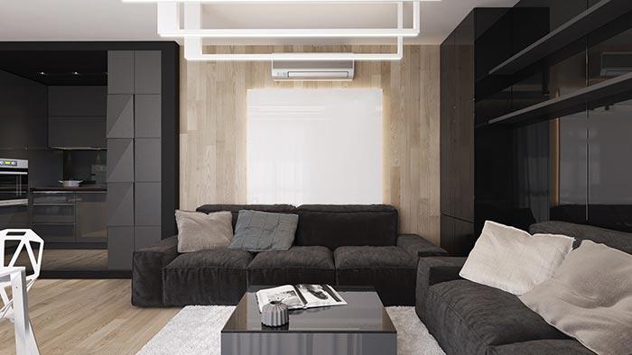 siyah tasarım oturma odası dekorasyonu