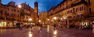Piazza Della Erbe at Night Verona Italy