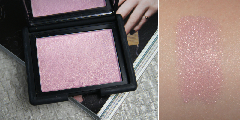 nars new order powder blush review swatch highlighting icy pink silver glitter intense shine glow