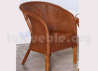 sillón para comedor hecho en caña de bambú y rattan natural j49