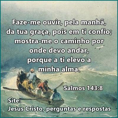 Salmo 143 Faze-me ouvir, pela manhã, pois em ti confio; mostra-me o caminho por onde devo andar, porque a ti elevo minha alma.