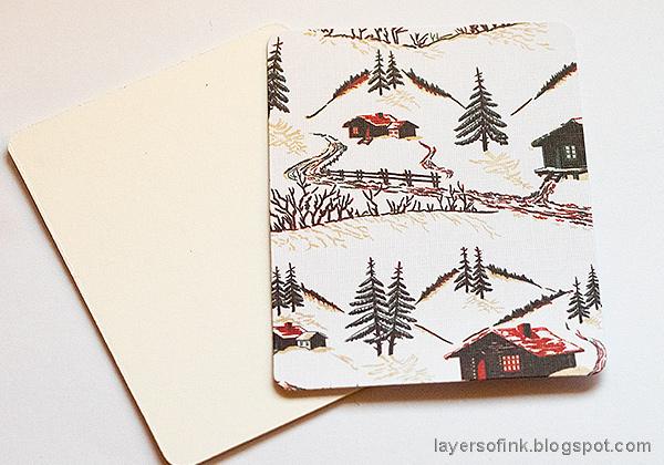 Layers of ink - Winter Wonderland Shadow Box Tutorial by Anna-Karin Evaldsson. With Tim Holtz Christmas Worn Wallpaper.
