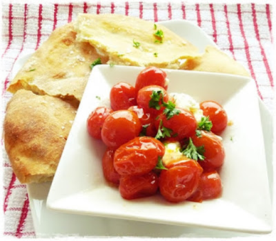 roasted tomatoes, mozzarella, flatbread