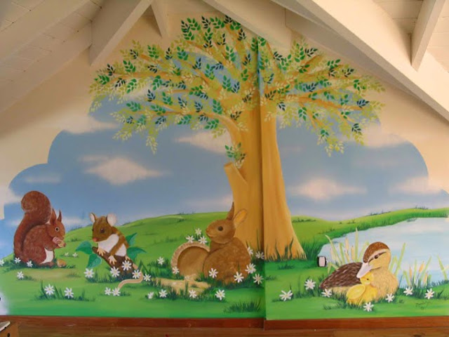 Murales infantiles murales graffitis y pintura for Murales decorativos paisajes