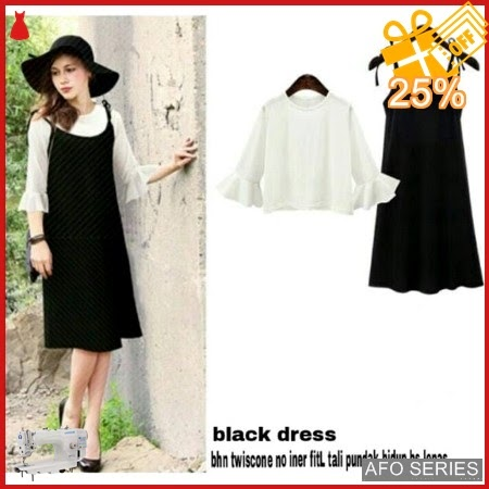 AFO234 Model Fashion Black Dress no inner Modis Murah BMGShop