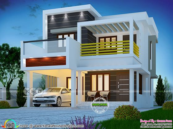 1600 square feet 3 bedroom box type modern home
