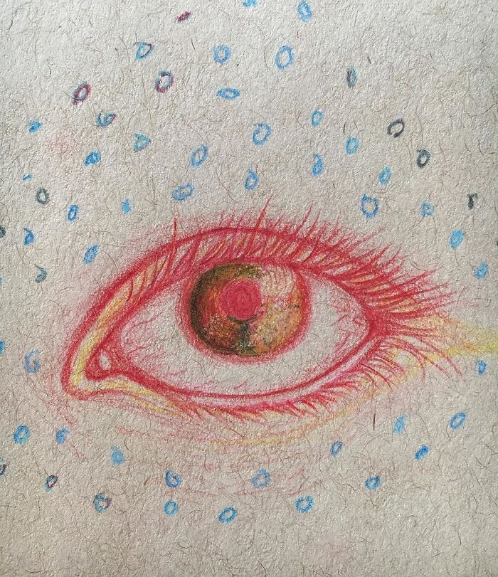 What eyes sometimes look like, with more of those odd colors and circles - I Was Diagnosed With Schizophrenia At The Age Of 17, So I Started Drawing My Hallucinations To Cope With It