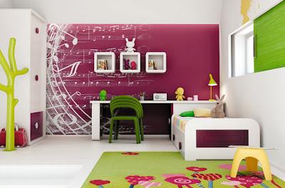 Decoración interiores de dormitorio juvenil  morado