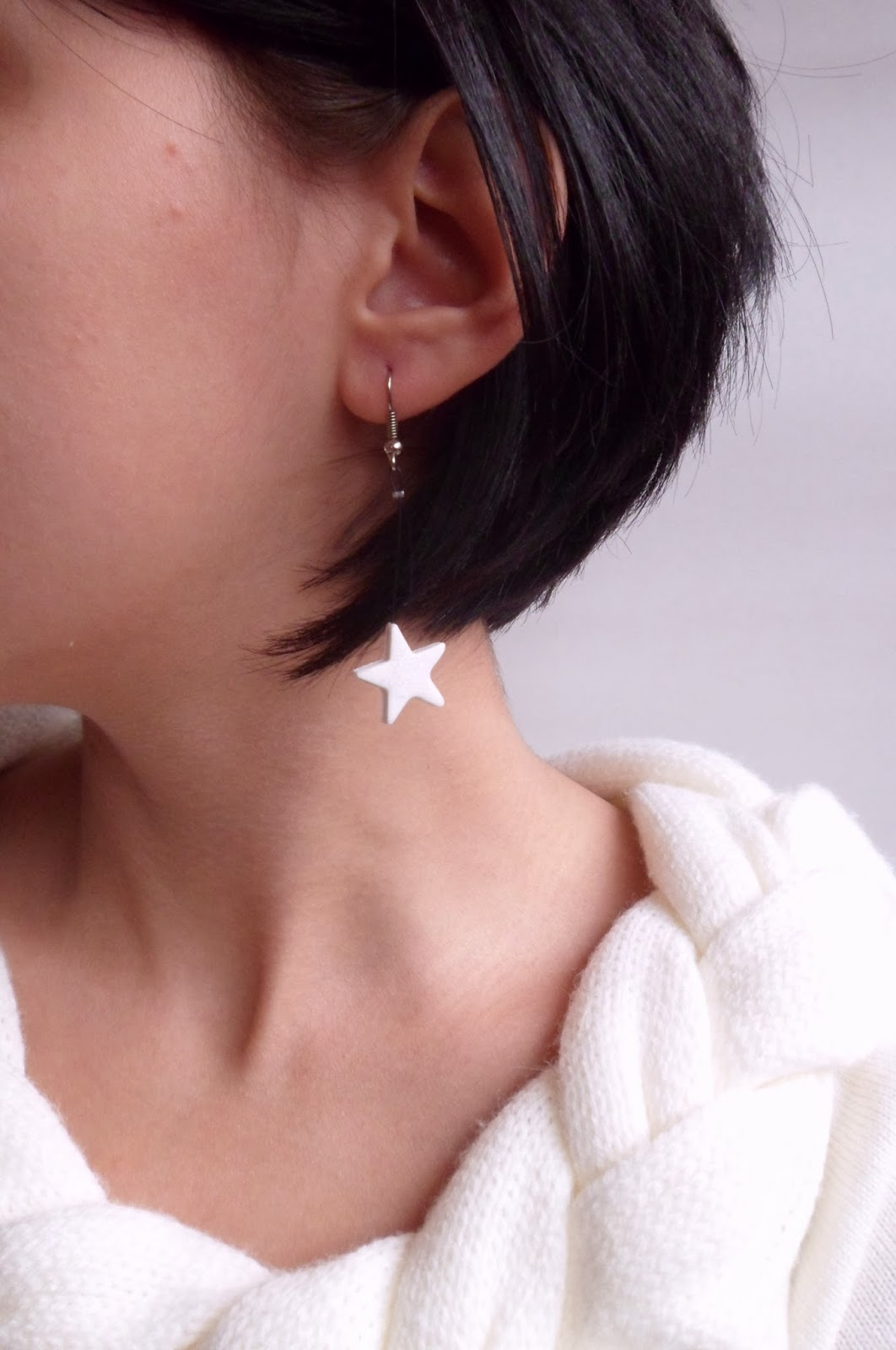 Cercei stelute albe - pe anou