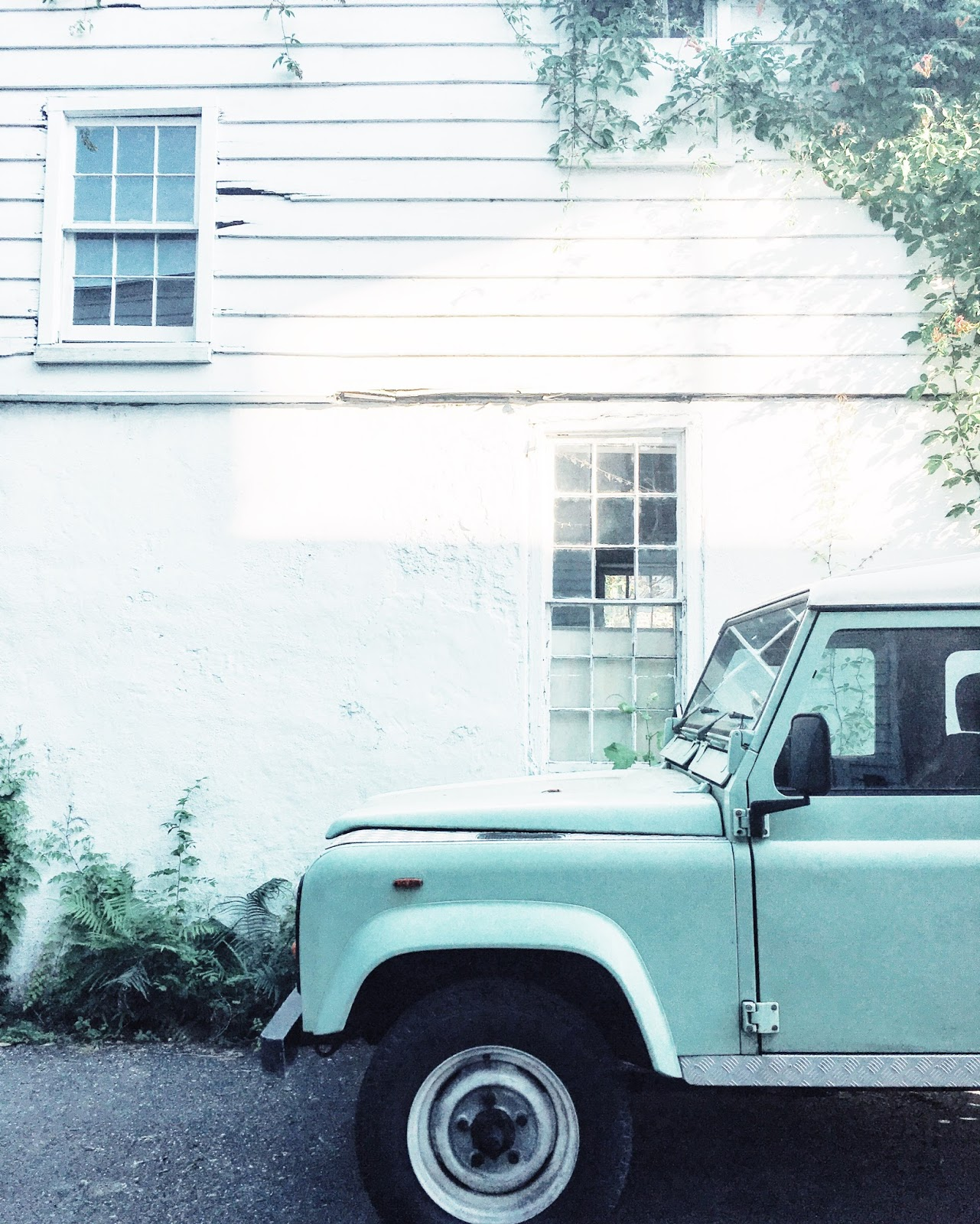 downtown charleston, old car, teal vintage jeep, pretty in the pines