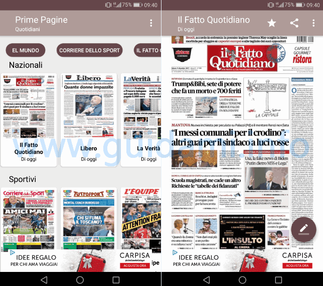 App Android Prime Pagine Quotidiani