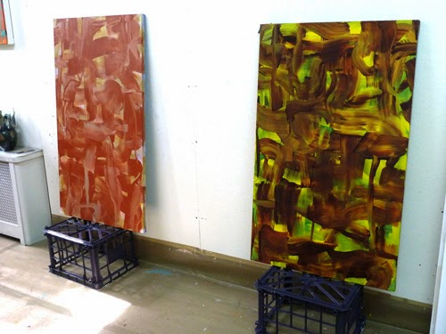 BuildUp paintings 1 and 2, Anne Russinof, 2013