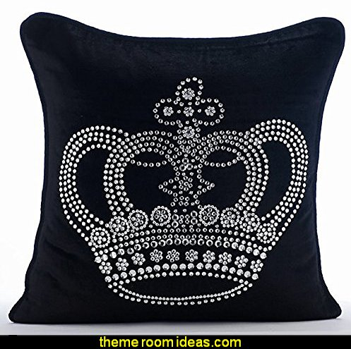 Black Velvet Pillow Cover With Crystal Bead Embroidery