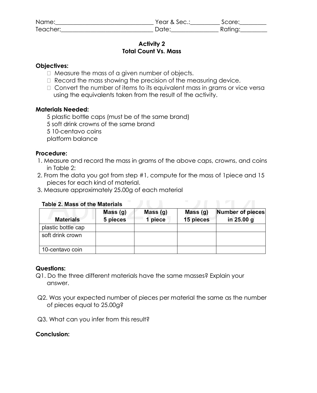 Science Concepts And Questions K To 12 Mole Concept Activities