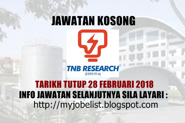 Jawatan Kosong TNB Research Sdn Bhd Februari 2018