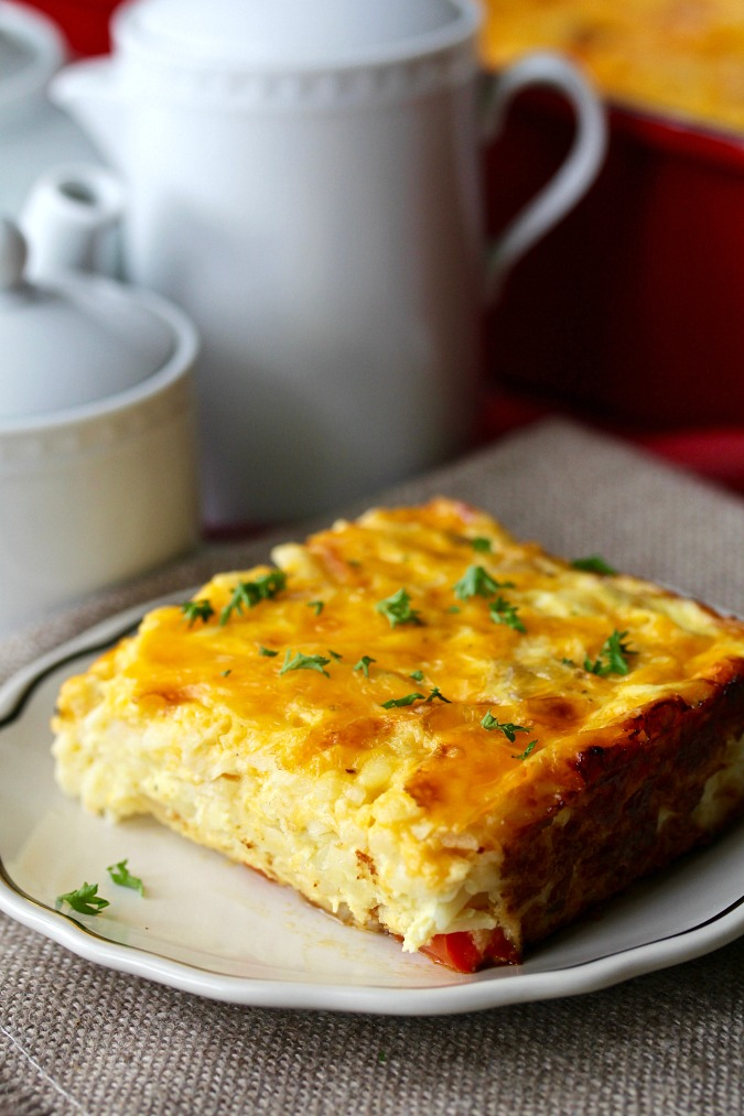 Slice of Hash Brown Breakfast Casserole #breakfast