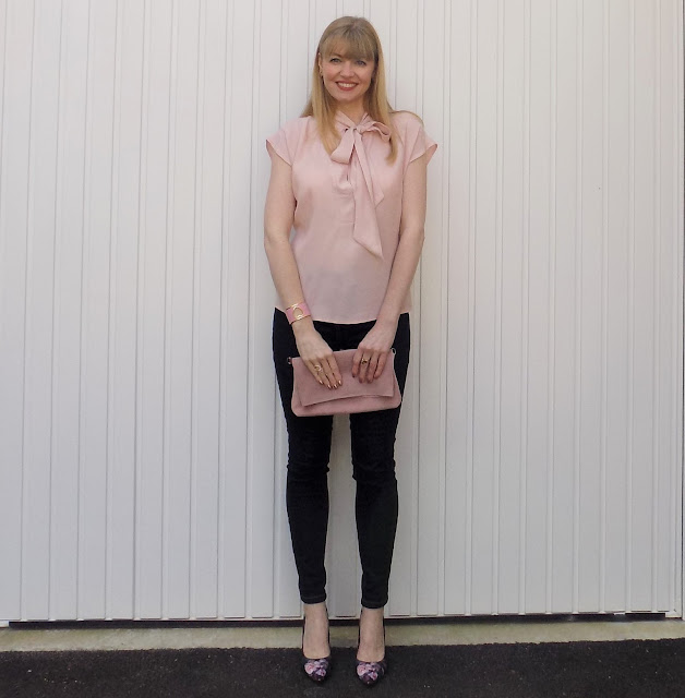 Pink pussy bow blouse and skinny jeans