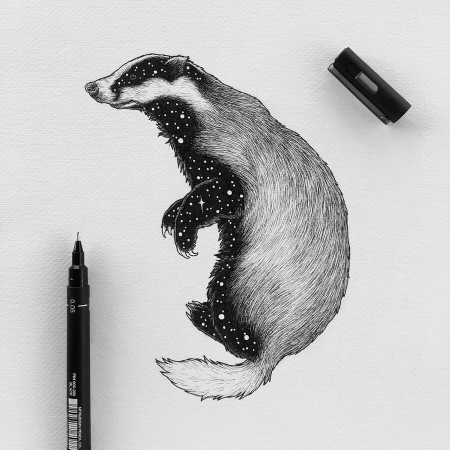 11-European-Badger-Astral-Animals-Chen-Naje-www-designstack-co
