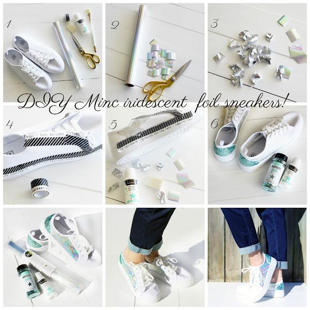 Heidi Swapp Minc Iridescent foil DIY sneakers