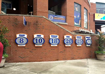 "Note the first retired number is Crash Davis from 'Bull Durham.' But where is the love for Ebby Calvin ""Nuke"" LaLoosh?"
