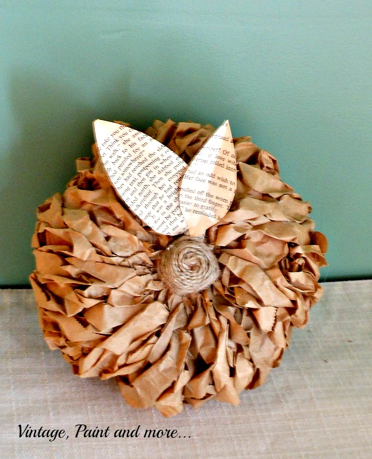 Vintage, Paint and more... rustic, woodsy pumpkins made with dollar store pumpkins and brown paper lunch bags, book pages and twine