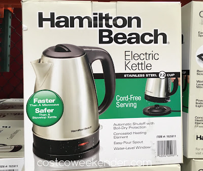 Quickly get boiling water with the Hamilton Beach Stainless Steel Electric Kettle 40993E