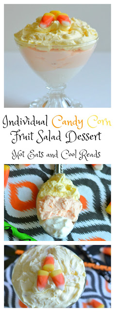 The perfect fruity dessert for any Halloween celebration! The kids love it, and even the adults too! Individual Candy Corn Fruit Salad Dessert Recipe from Hot Eats and Cool Reads