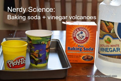 Nerdy Science: Baking soda and vinegar volcanoes via a 5 year old