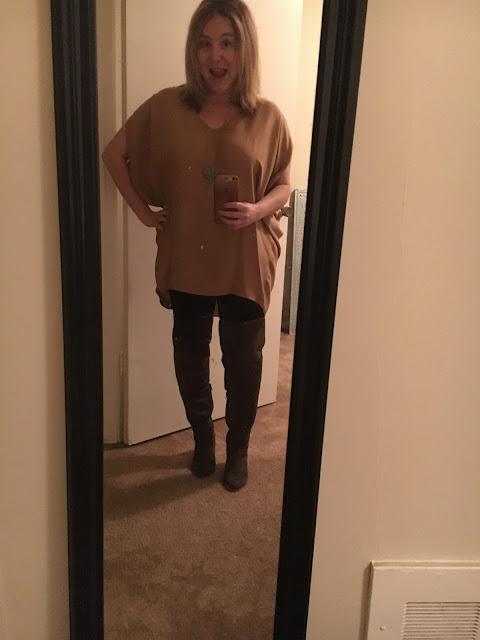 Jamie Allison Sanders, Vince silk tunic blouse, Hue cotton leggings, JustFab Kareena Suede Over the Knee Boots, weight loss