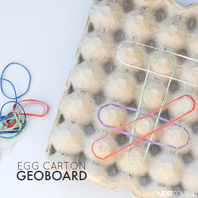 Egg carton geoboard - a simple no prep fine motor activity for kids from And Next Comes L