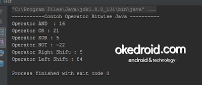 Contoh Output Hasil Operator Bitwise Program Java