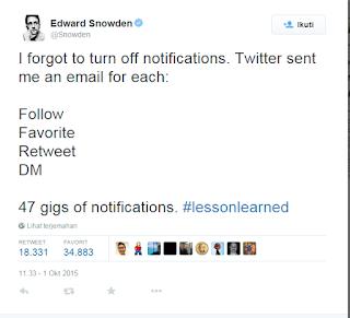 edward snowdan terima pesan Email hingga 47GB gara-gara akunnya di Twitter