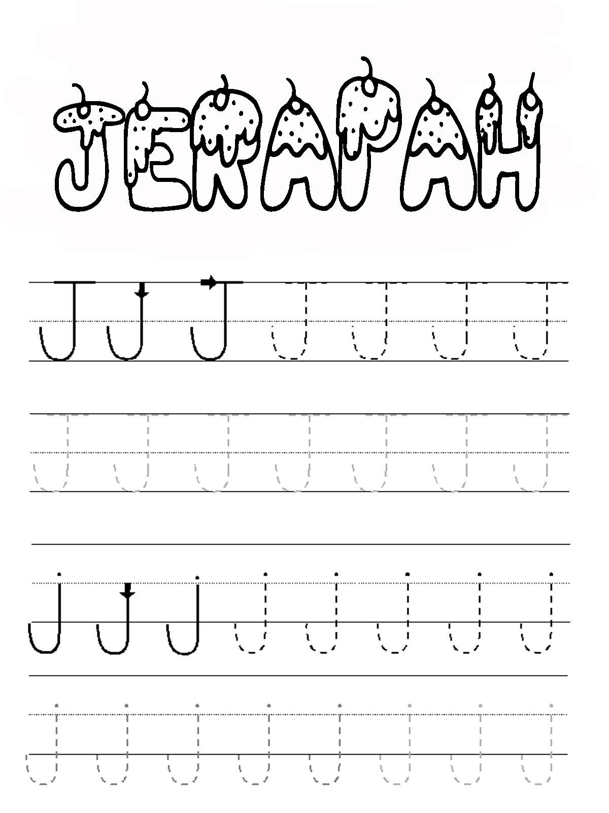 belajar menulis alfabet huruf j mewarnai gambar