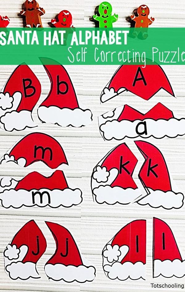FREE printable Santa themed puzzles for preschool kids to practice letter matching this Christmas season! Includes 3 different versions, uppercase letters, lowercase letters, or matching uppercase to lowercase.