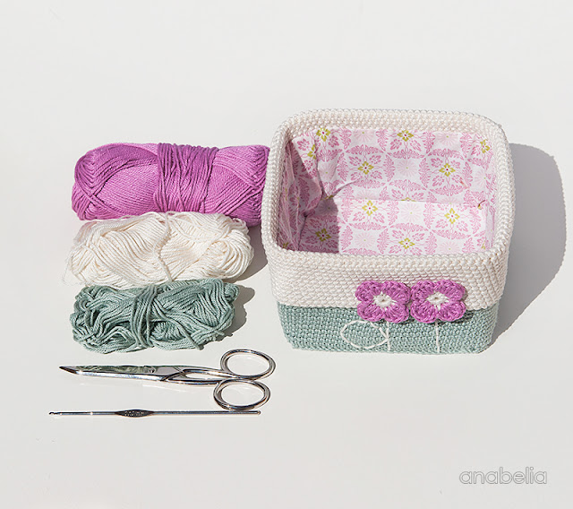 Square based crochet basket with tiny spring flowers by Anabelia Craft Design