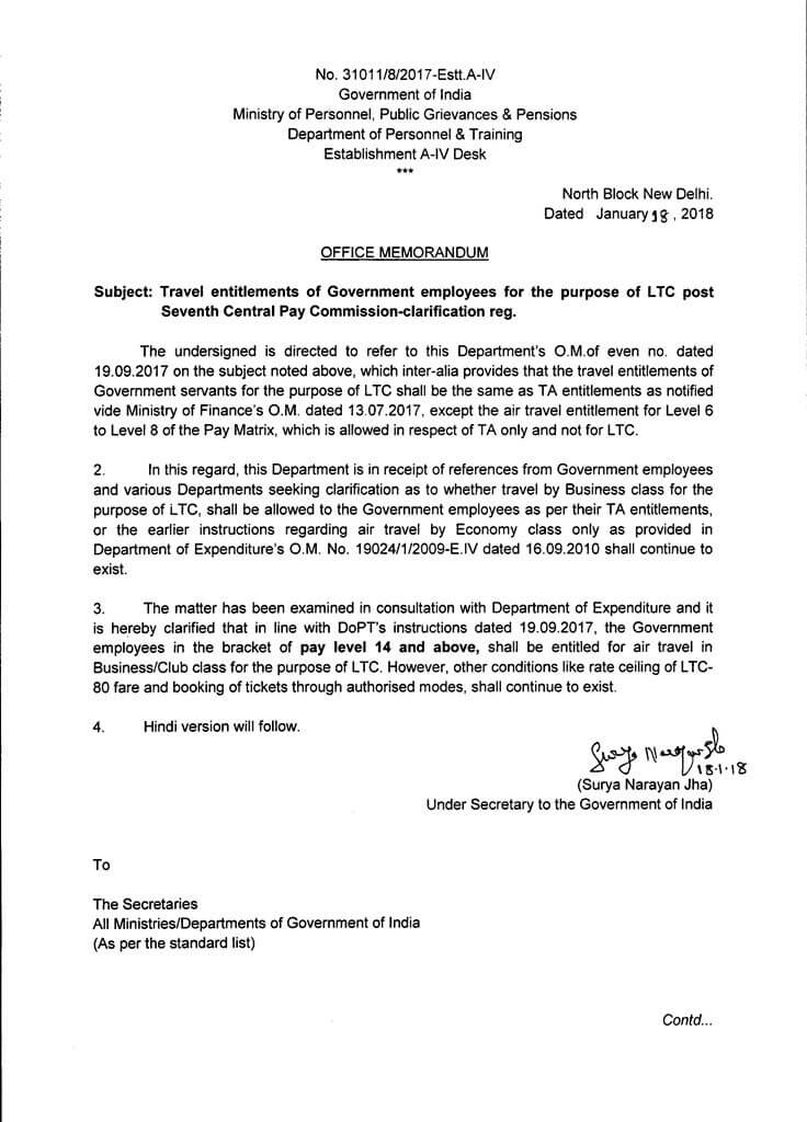 7th CPC: Air Travel Entitlement for the purpose of LTC - Clarification by DoPT dated 18.01.2018