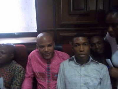 Nnamdi Kanu,Leader of the Indigenous People of Biafra IPOB in  Federal High Court Abuja today