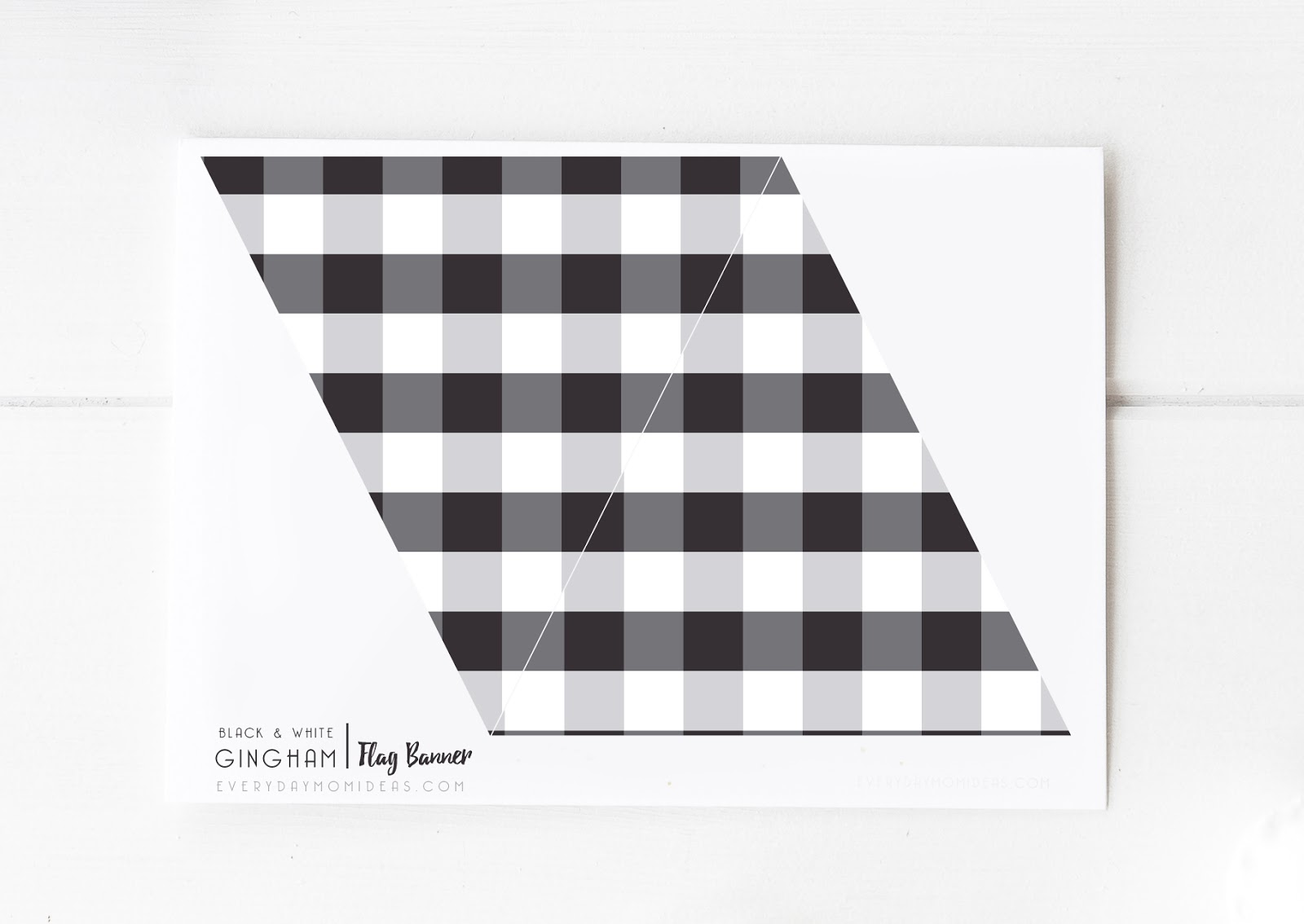 photograph relating to Printable Flag Banner called Black White Gingham Flag Banner (No cost Printable