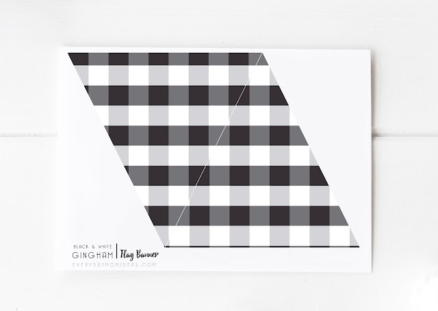 Black & White Gingham Flag Banner (FREE Printable)