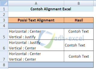 alignment in Excel