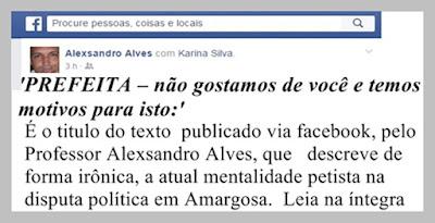 """""""PREFEITA – não gostamos de você e temos motivos para isto"""", por Alexsandro Alves"""