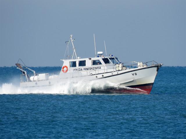 A motorboat of the Polizia Penitenziaria (Penitentiary Police) coming back from the Gorgona island, Livorno