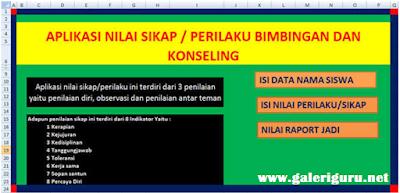 Contoh Aplikasi Nilai Sikap Guru BK Deskripsi Otomatis Format Excel – Galeri Guru